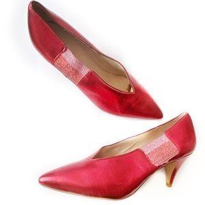 Free People Metallic Red Kitten Heel Pumps